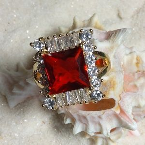 Red & White CZ Ring. New